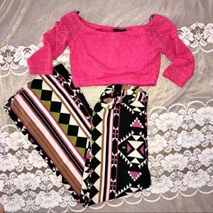 Aztec Palazzo Pants With Pink Crop Top Outfit